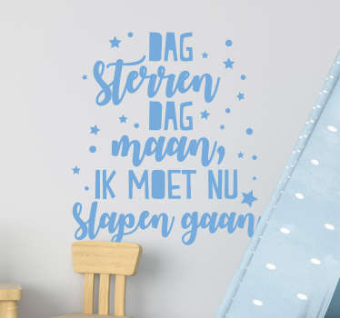 Tekst stickers Dag sterren Dag maan gedichtje