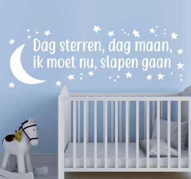 Leuke kinderkamer muurtekst gedicht voor kinderkamer decoratie: Maan muurstickers kinderkamer en sterren muurstickers kinderkamer en babykamer sticker