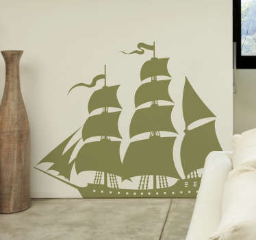 A monochrome silhouette design of a sailing traditional ship from our collection of nautical wall stickers to decorate your home.