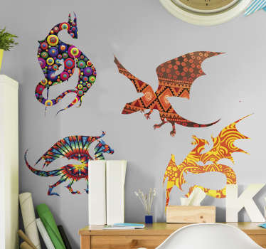 Add some magic to your wall with this fantastically colourful and patterned wall art sticker, depicting dragons! Personalised stickers.