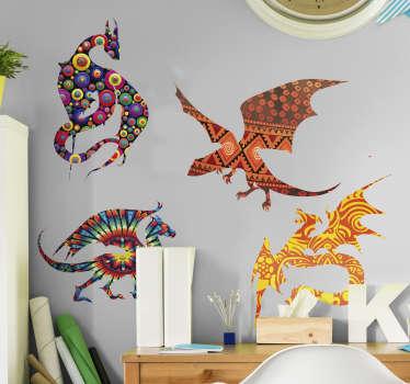 Färgglada drakar djur vägg klistermärke