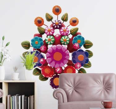 Original y colorida pegatina adhesiva formada por el diseño de un árbol de la vida de estilo floral típico de México. Fácil aplicación y sin burbujas.