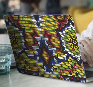 Decorative Huichol peyote art abstract laptop sticker for laptop. Easy to apply, adhesive and available in any required size.
