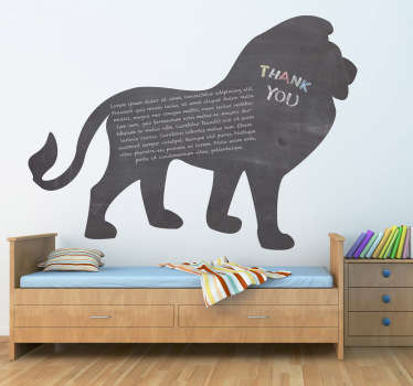 Vinil decorativo quadro preto ardósia leão