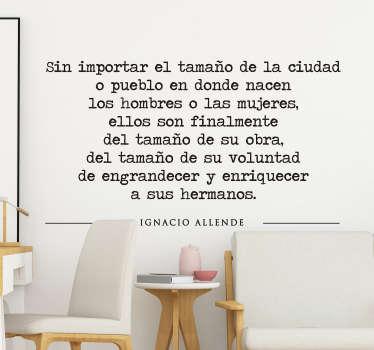 Vinilo frase célebre Ignacio Allende