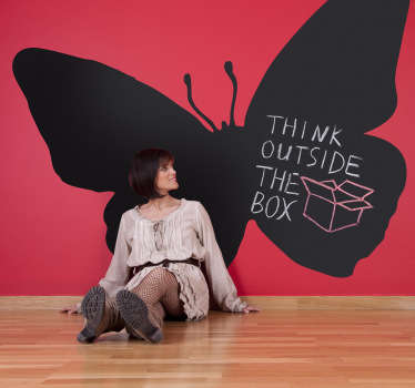 Blackboard Stickers - Silhouette design of a butterfly. Ideal for childrens decor.