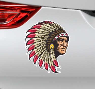 Original pegatina adhesiva ideal para decorar un vehículo formada por la ilustración realista de un indio apache. Precios imbatibles.