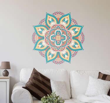 Original vinilo adhesivo formado por la ilustración de una mandala floral, diseñada a partir del arte huichol. Compra Online Segura y Garantizada.