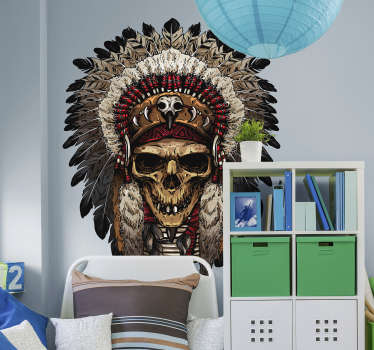 Decorative object wall sticker with the design of an Apache Indian skull. Easy to apply and available in nay required size.