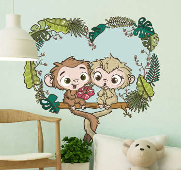 Illustrative love sticker for children bedroom with the design of cute baby changuitos on a tree branch. Easy to apply and available in any size.