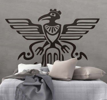 Decorative home wall decal with the design of Mayan symbolic bird design. Available in different colour and sizes. Easy to apply.