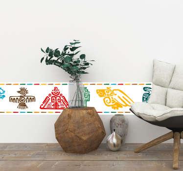 Original cenefa adhesiva formada por el diseño de varios símbolos maya en diferentes colores. Promociones Exclusivas vía e-mail.