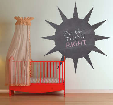 Blackboard Stickers- Silhouette illustration of a sun. Slate sticker design ideal for decorating any room