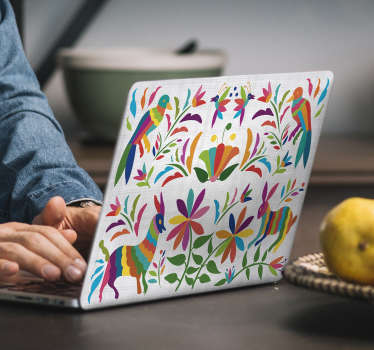 Tenango laptop sticker with animal and bird on tree design. Easy to apply and available in any required size. Self adhesive and durable.