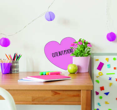Show that you are cute and psycho in equal parts with this fantastically artistic and colourful wall art sticker! +10,000 satisfied customers.