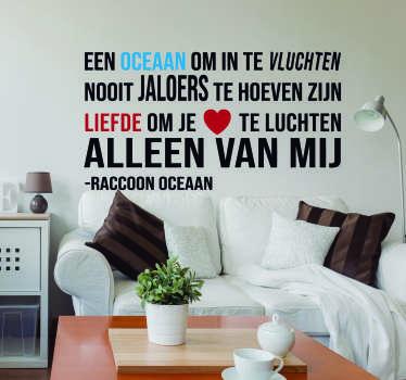 Muurstickers tekst Raccoon Oceaan