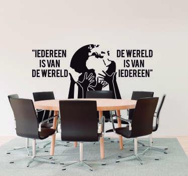 Bedrijfsstickers Iedereen is van de wereld