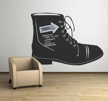 Blackboard Stickers- Illustration of a boot. Slate sticker design ideal for decorating any room, also practical for drawing and writing notes.