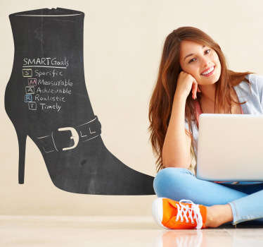 A blackboard sticker in the shape of a stylish high heeled boot. Perfect for your home or business.