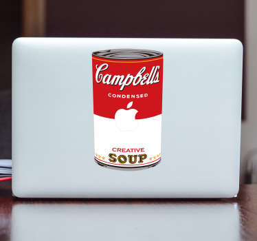 Decorate your laptop with this fantastic Andy Warhol inspired, pop art themed, laptop sticker of a Campbells Soup Can! Anti-bubble vinyl.
