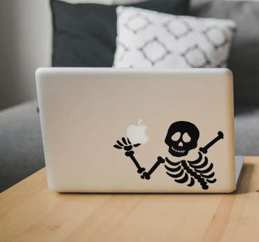 Skjelett macbook halloween klistremerke