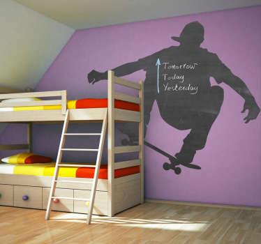 Skateboarder og tavle vegg klistremerke