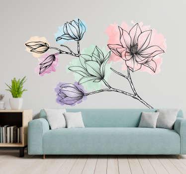 Original vinilo adhesivo para pared formado por la ilustración de unas magnolias de tonos pastel. Descuentos para nuevos usuarios.