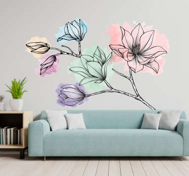 Sticker Maison Magnolias Style Aquarelle