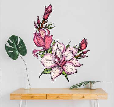 Naklejka z rysunkiem Różowe kwiaty magnolii