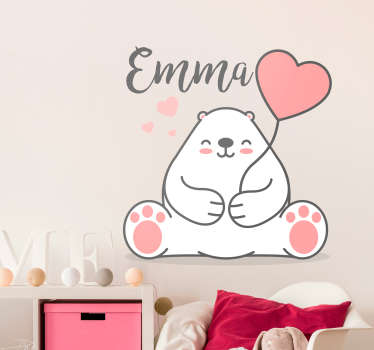 Cute Bear with Name Customisable Wall Sticker