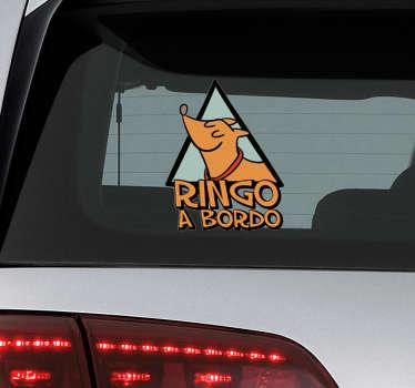 """Vinilo adhesivo personalizado para vehículo formado por la ilustración de un perro acompañado del texto """"a bordo"""". +50 Colores Disponibles."""