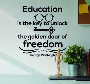 George Washington Education Quote Sticker