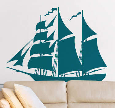 A fantastic silhouette design of a traditional ship. A detailed design from our collection of sea wall stickers.