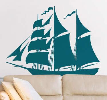 Naklejka dekoracyjna statek z żaglem