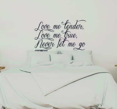 Vinilo frase Love me Tender Lyrics