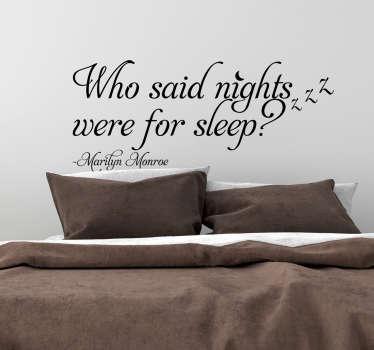 Marilyn Monroe Nights Quote Sticker