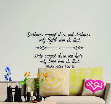 Decorate your wall with this fantastic Martin Luther King wall quote sticker, reminding us to always stay positive! Personalized stickers.