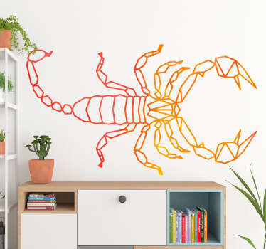Decorative geometric insect sticker with a scorpion design for home and office decoration. Easy to apply and available in any required size.