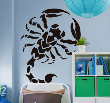 Decorative insect wall sticker designed with a tribal scorpion. Available in different colour and size options. Easy to apply and self adhesive.