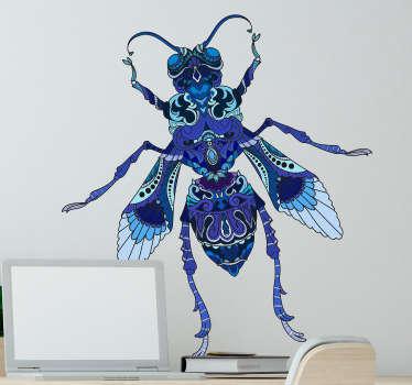 Adesivo decorativo da parete con un design a mosca blu per la decorazione domestica. Facile da applicare, autoadesivo e disponibile in qualsiasi dimensione.