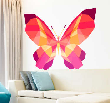 Geometrisk sommerfugl, veggmaleri