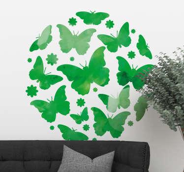 Grøn sommerfugl klistermærke