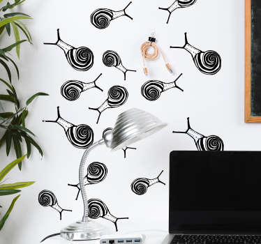 Decorative marine animal wall sticker with sets of snail design. Available in nay desires size and easy to apply. Highly durable and self adhesive.