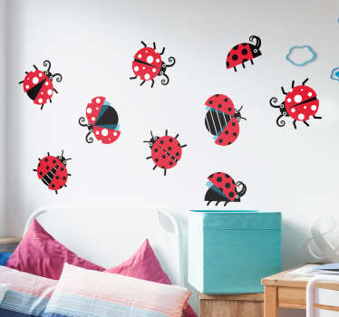 If you love ladybirds then you will love this insect wall sticker, depicting a set of ladybirds on a sheet! Available in 50 colours.