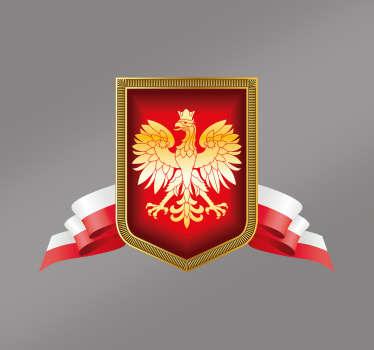 Naklejka na auto Godło Polski orzeł z flagą