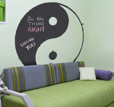 Blackboard Stickers - Ying and Yang chalkboard design. Ideal for those who like interior decor inspired by feng shui.