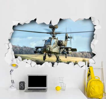 Helikopter 3d vægmaleri klistermærke