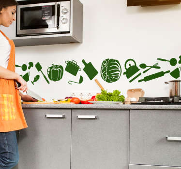 Check our cuisine stickers of cooking utensils and vegetables in the kitchen. This kitchen wall art decor is available in many different colours.