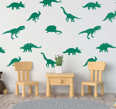不同的恐龙动物墙贴纸