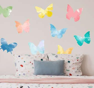 Farverige sommerfugle dyr væg mærkat